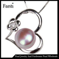 Fine jewelry sterling silver 925 heart pearl pendant mounting jewelry