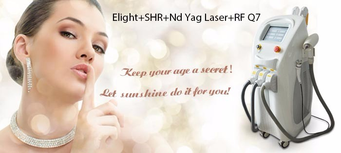 Stationary 4 in 1 imported lamp elight rf nd yag laser shr hair removal machine