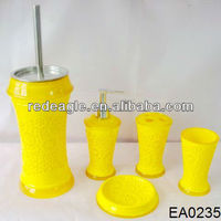 EA0235 yellow hollow design 5pcs bathroom accessories set resin material