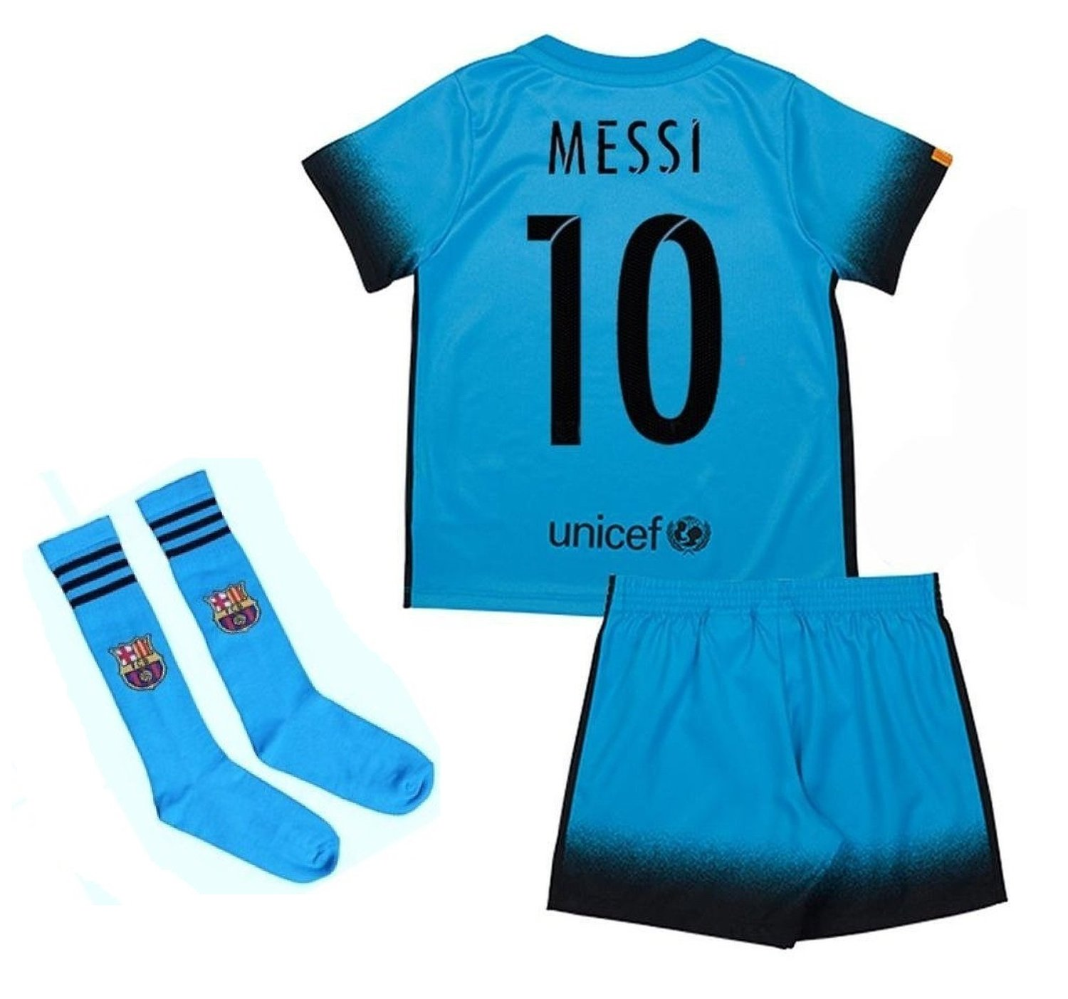 eeff8efa119 Get Quotations · New Barcelona Messi Away Blue Soccer Footfall Jersey set  uniform for Youth Kids