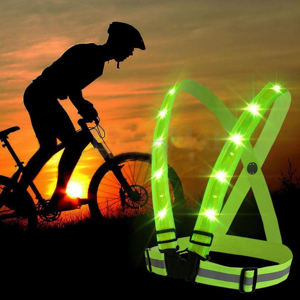 Back To Search Resultssports & Entertainment Bright Unisex Outdoor Cycling Safety Vest Bike Ribbon Bicycle Light Reflecing Elastic Harness For Night Riding Running Jogging Bicycle Accessories