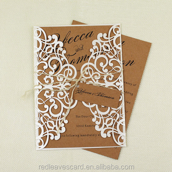 Lowest price of handmade wedding card design invitation laser cut