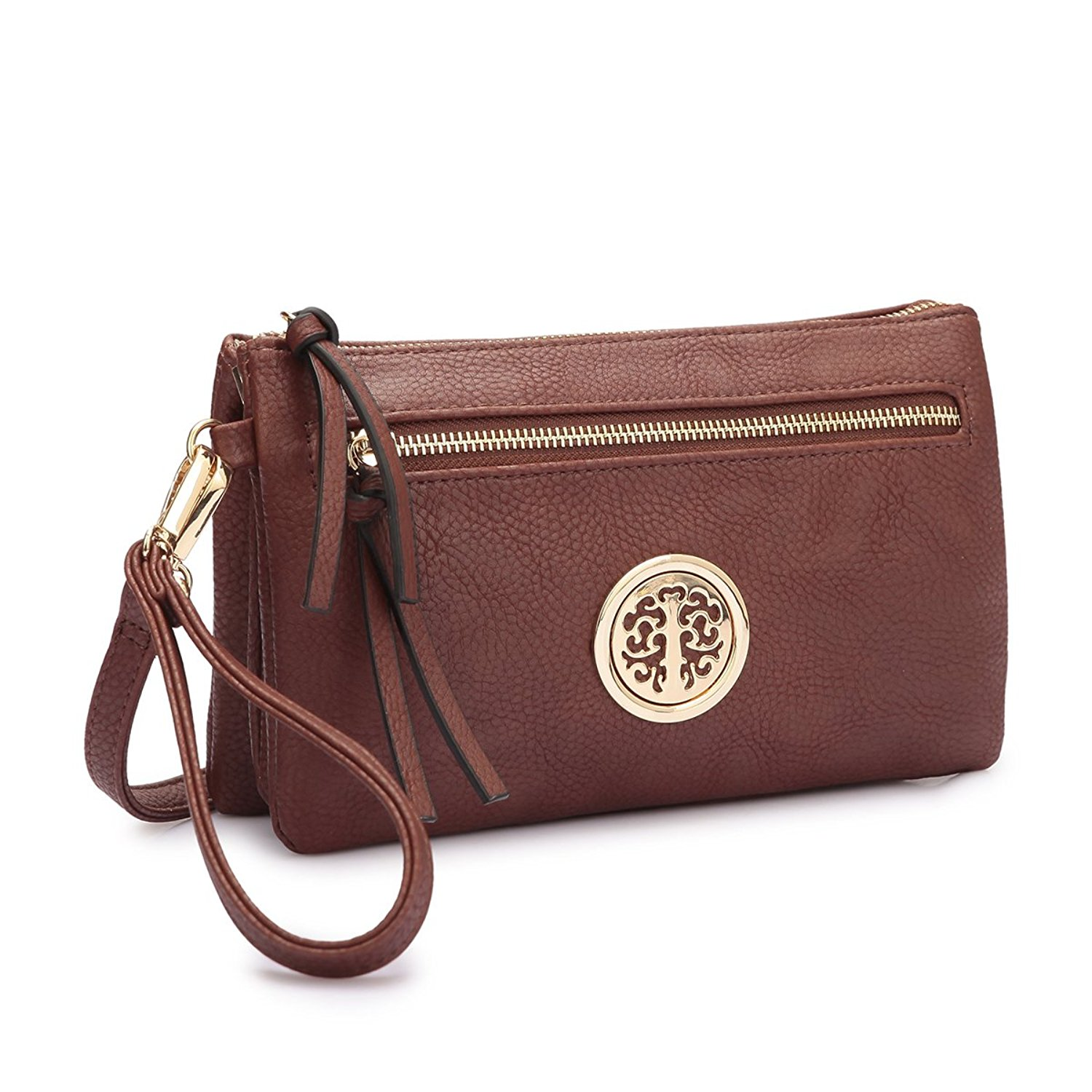 MMK Collection Fashion Crossbody Bag ~Messenger Purse~Crossbody Bag for Women~Designer Fashion Wristlet Wallet Multi Pocket Clutch Purse (MA-18-7217 Brown)