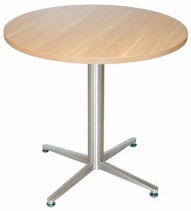 Round Wooden conference room meeting table top metal frame 4 star base