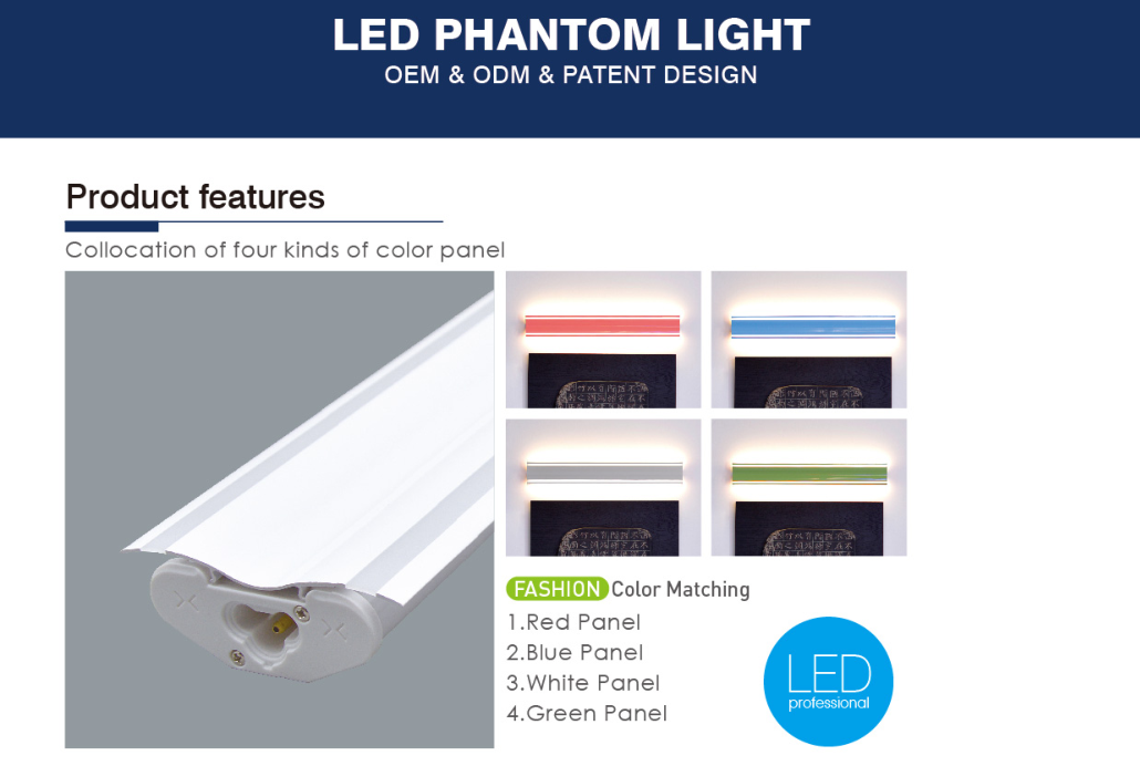 Dimmer and CCT adjustable led phantom light decoration led tube with etl ce saa certification