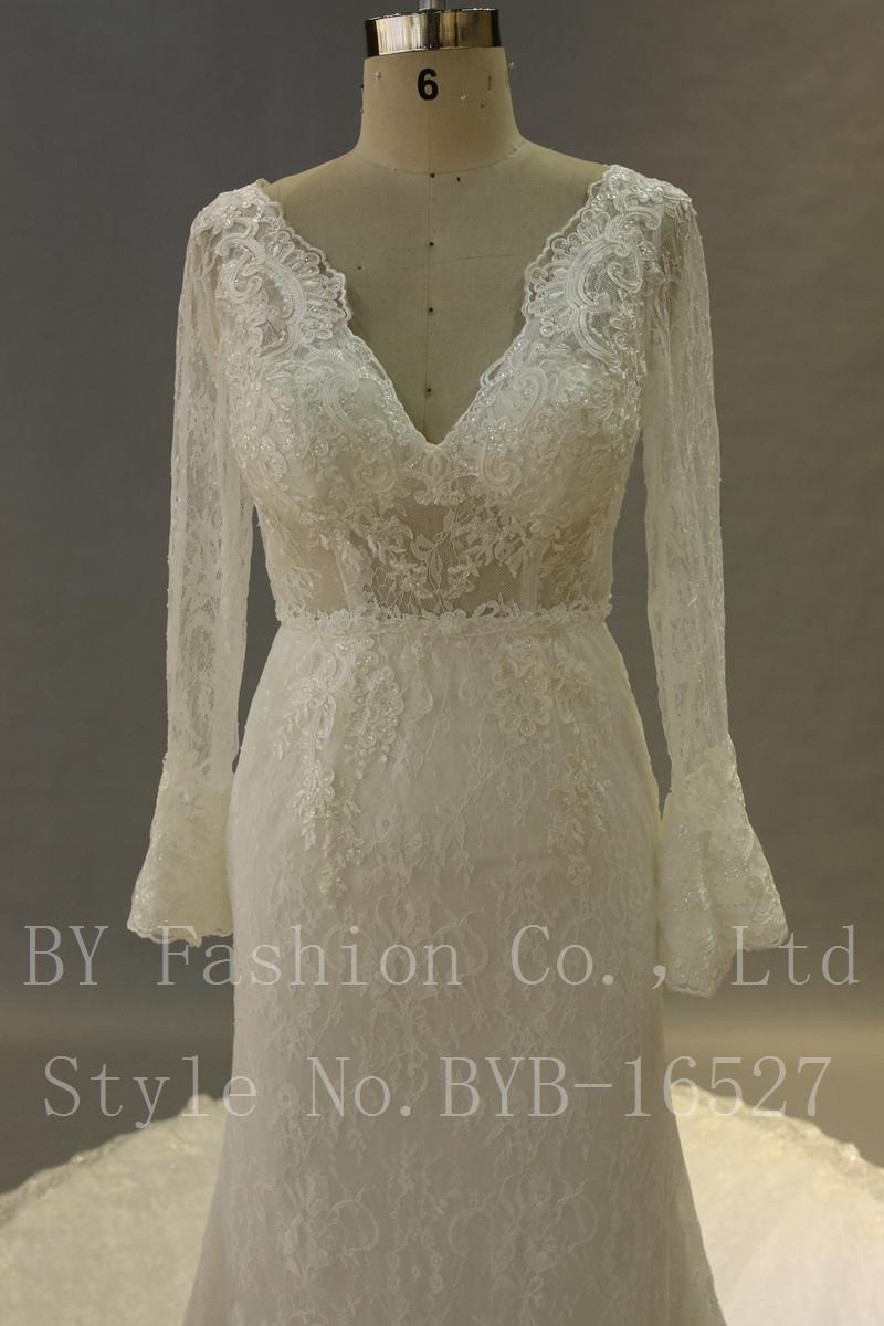 White Satin Lace Bell Sleeve Wedding Dresses