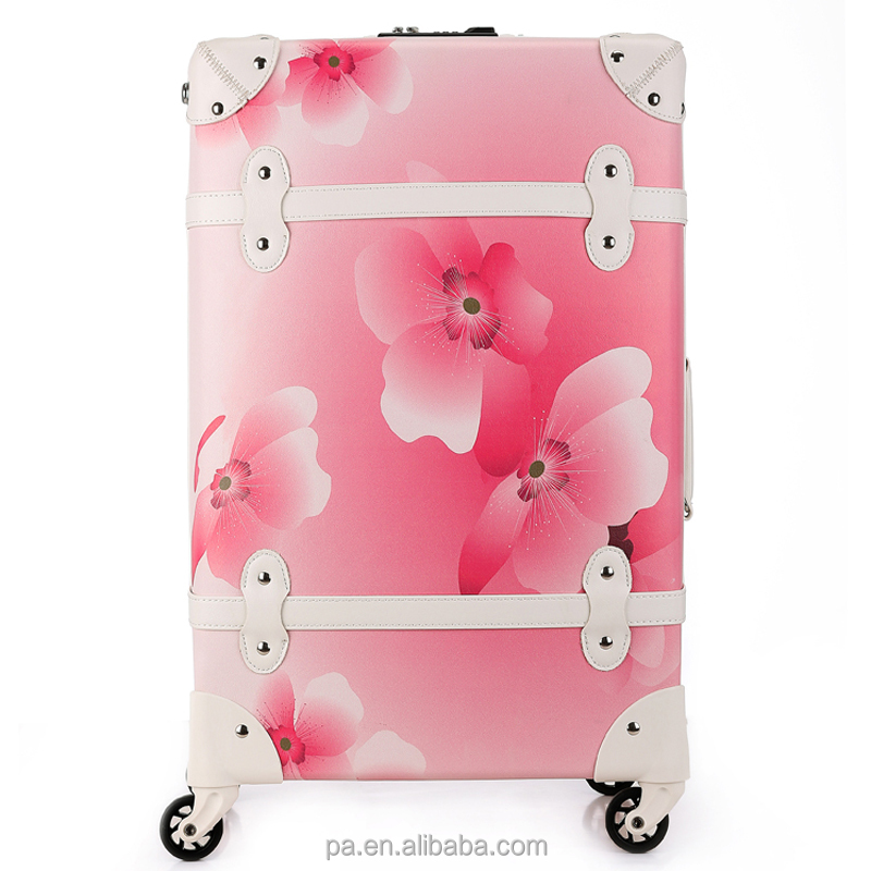 Pink printing flower vintage luggage travel trolley suitcase laggage bag travel luggage