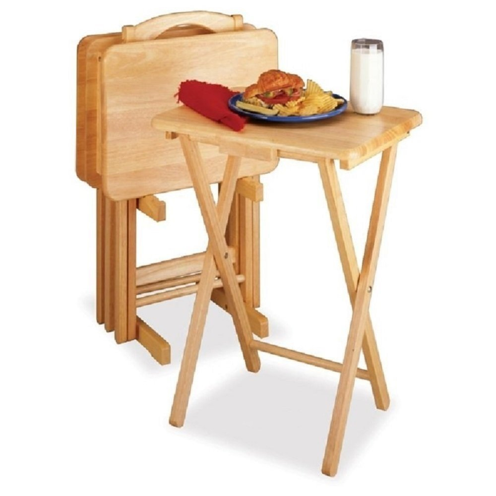 Tv Trays Tables Stand Set Folding Portable For Eating Snack Of 5 Personal
