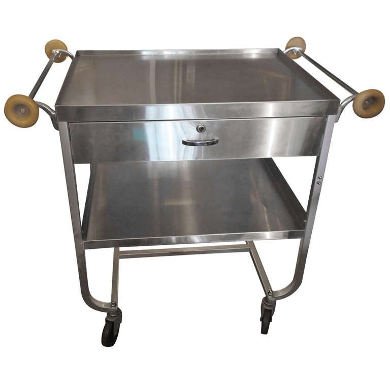 duralble stainless steel hotel duoble-deck food serving trolley with drawer