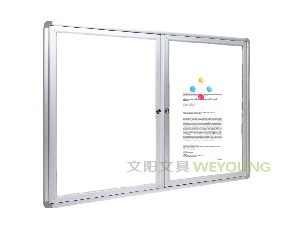 Whiteboard Cabinet/Lockable Whiteboard Showcase With Glass Door