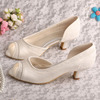 Ivory Wedding Shoes Low Heel Lace