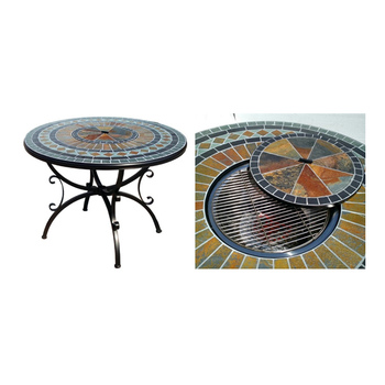 Attirant Round Fire Pit U0026 Bbq Table Set With Slate Top Bowl Cover Mosaic Table With  Four Rattan Arm Chair   Buy Fire Pit Table Set,Mosaic Table Set,Bbq Table  ...