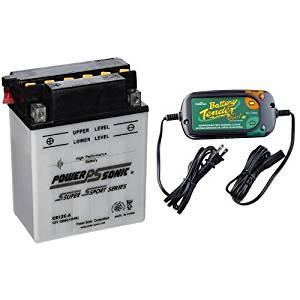 Power-Sonic CB12C-A Conventional Powersport Battery and Battery Tender 022-0185G-dl-wh Black 12 Volt 1.25 Amp Plus Battery Charger/Maintainer Bundle