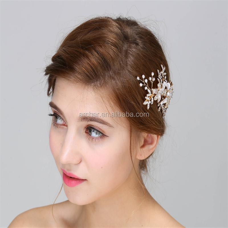 हस्तनिर्मित फूल दुल्हन बाल पिन महिला/लड़की बाल गहने शादी दुल्हन बाल गहने सामान ha-5002