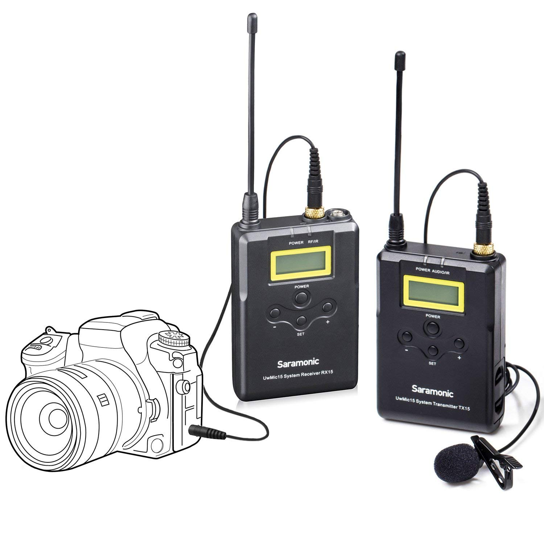 Saramonic UWMIC15 16-Channel Digital UHF Wireless Lavalier Microphone System Bodypack Transmitter, Portable Receiver, Lav Mic, Shoe Mount, XLR/3.5mm Outputs (RX15+TX15)