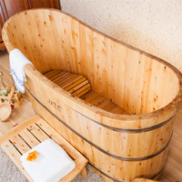 Wooden Bathing barrels/Wooden Barrel Bathtub/Low price wood Natural color wooden bathtub