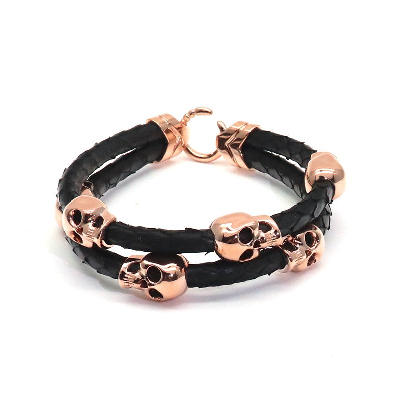 Rose Gold Skull Charms Bracelet Stackable Leather Bracelets Python For Men Gift View Viya Product