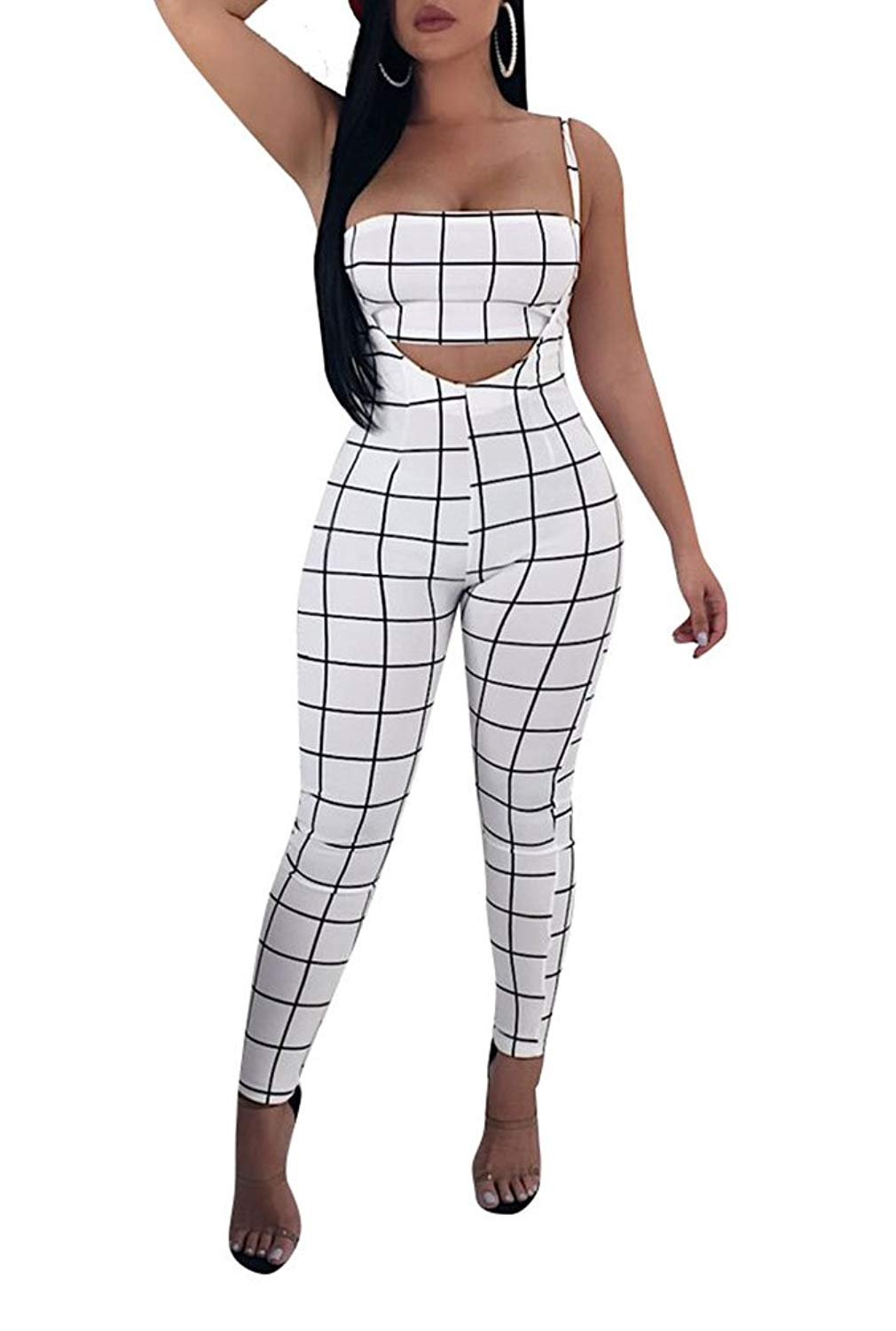 c9da4b187bfd Get Quotations · Remelon Womens Sexy Plaid Print 2 Piece Outfits Tube Crop  Top Strap Sleeveless Suspender Jumpsuits Overalls
