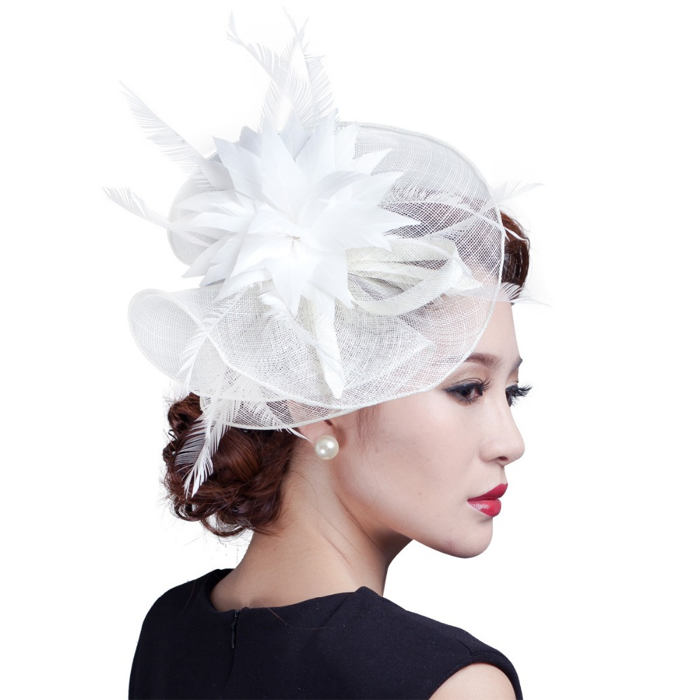 9a57544941ea0 Get Quotations · Ladies large flower feather sinamay headpiece women hair  accessories fancy fascinators for wedding party and races