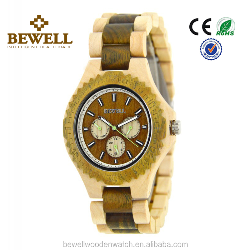 wood bezel Angled watch made from real wood maple wooden watch clock face.