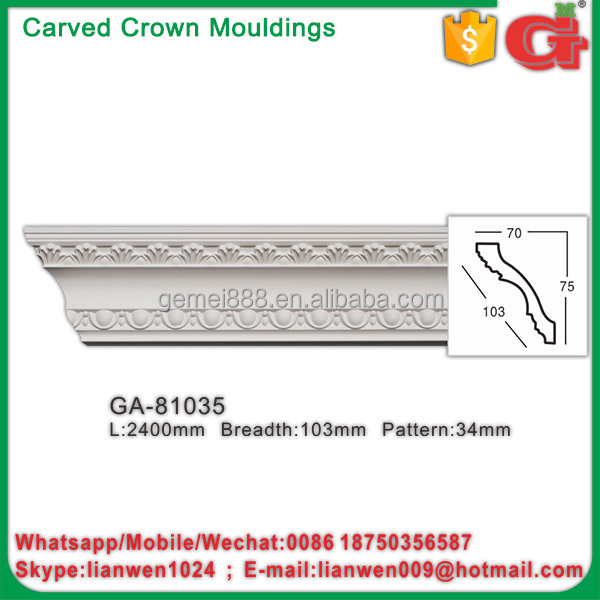 Lighted foam crown moulding pu cornice molding