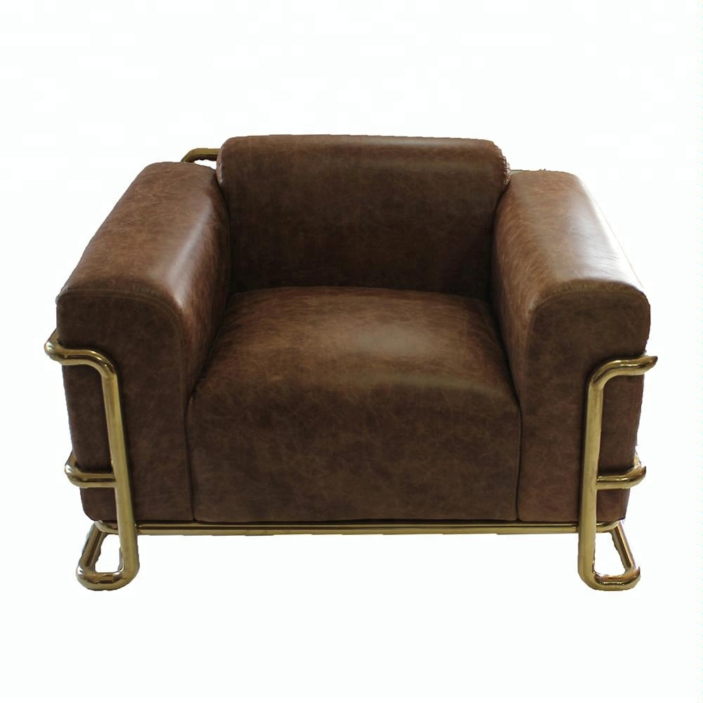 Industrial Gold Pipe Frame Brown Old Leather Sofa Buy