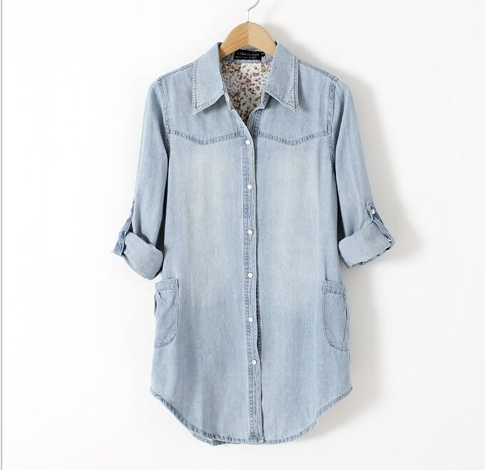 1c57eccb Buy Camisa Jeans Feminina 2015 Women Denim Shirts Blusas Plus Size Tops  Camisas Femininas Vintage Body Tunic Blouses Long Sleeve in Cheap Price on  ...