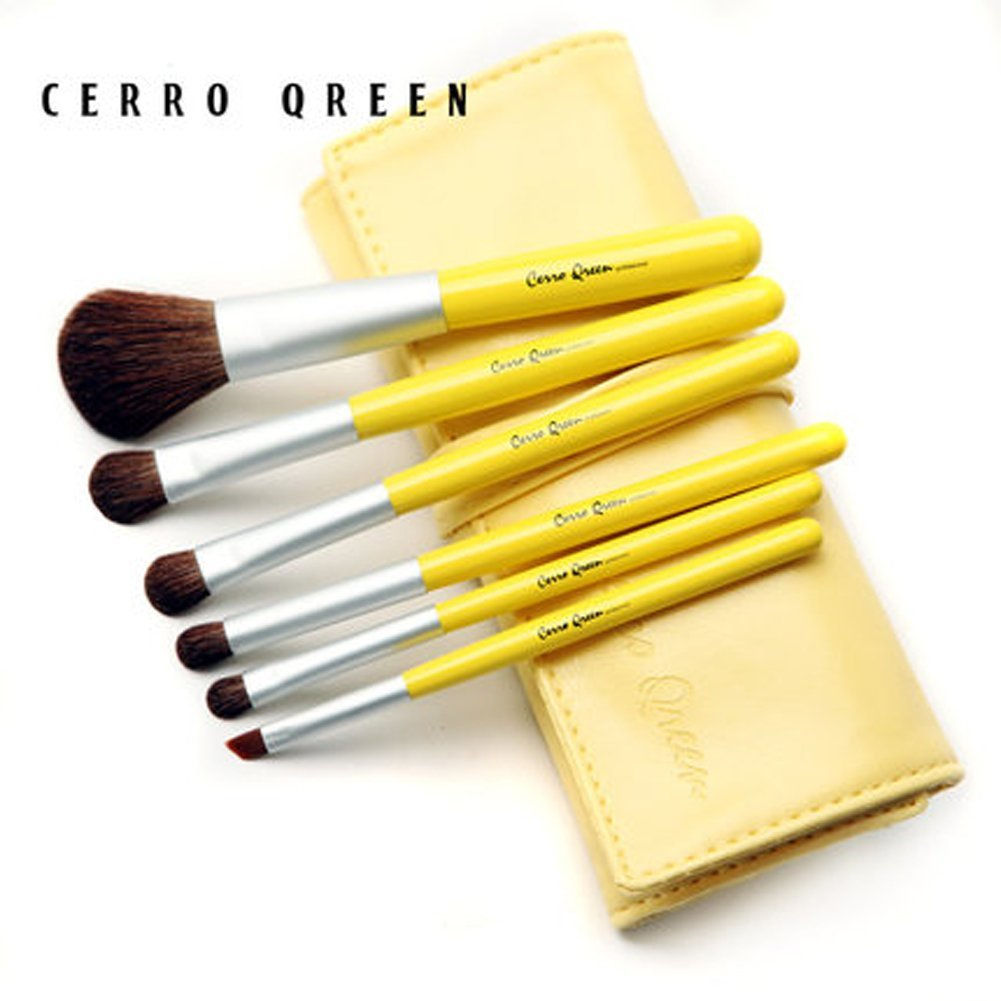 CERROQREEN 6pcs Makeup Brushes Cosmetic Brush Set pony hair goat hair leather traverl pouch bag case (yellow)