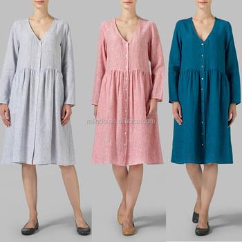 f270f44901c Women Chic Dresses Summer Linen Button Front Dress Long Sleeves V Neck  Straight Cut Hem Knee