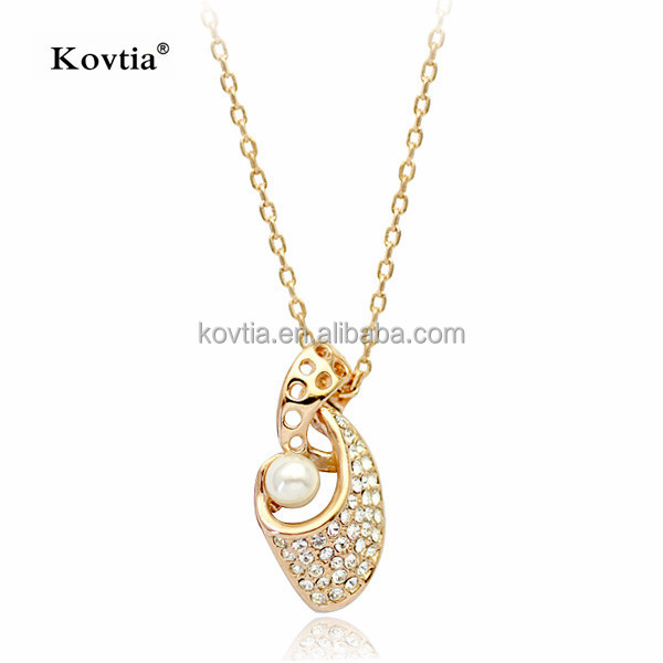 Fashion charm 18K pure gold crystal and pearl jewelry bride wedding necklace for sale
