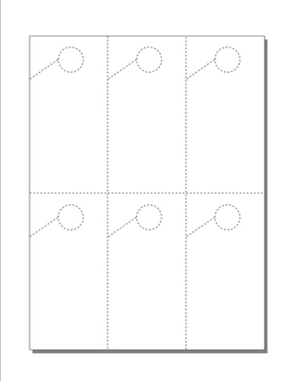 """Print-Ready Hang Tags with Hole, 6-UP (2-3/4"""" x 5-1/2""""), Perfed on 8-1/2"""" x 11"""" White 67lb Vellum Paper - 250 Sheets / 1500 Hang Tags"""