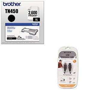KITBLKF3U134V06BRTTN450 - Value Kit - Belkin Pro Series High-Speed USB 2.0 Extension Cable (BLKF3U134V06) and Brother TN450 TN-450 High-Yield Toner (BRTTN450)