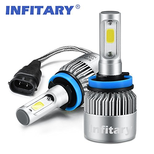 Infitary LED Headlight Bulbs H11 Conversion Kits Car LED Headlights 72W/Pair 6500K 8000LM Extremely Super Bright COB Chips- 1 Pair-3 Year Warrenty