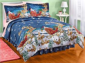 3 Piece Christmas Themed Comforter Twin Set, Santa Claus Bedding with Flying Reindeers, Holiday Xmas Spirit Theme, Snow Covered Houses Pine Trees Present Gifts, Santa Sleigh, Blue Red White Green