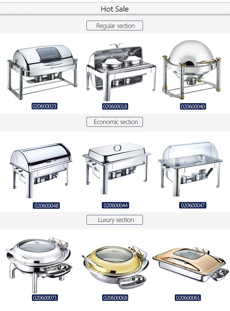 Wholesale stainless steel roll rop buffet chafer buffet service chafing dish for sale