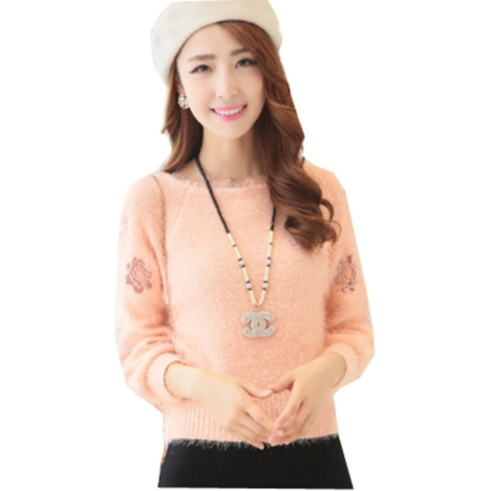 59b325752dc37 Get Quotations · 2015 Pop Ladies Womens Pink Fluffy Mohair Cropped Knitted  Sweater Jumper Tops Free Shipping