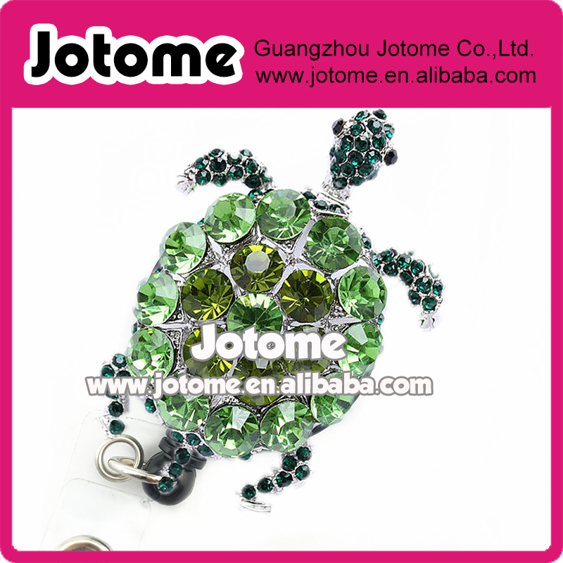 Green Sea turtle Bling Pretty Retractable Badge Reel ID Badge Holder