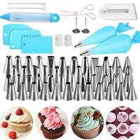 62pcs Cake Decoration Supplies Kit-65 PCS Baking Supply Set Rotating Turntable stand 24 Icing Piping Tips Icing Bags Frosting