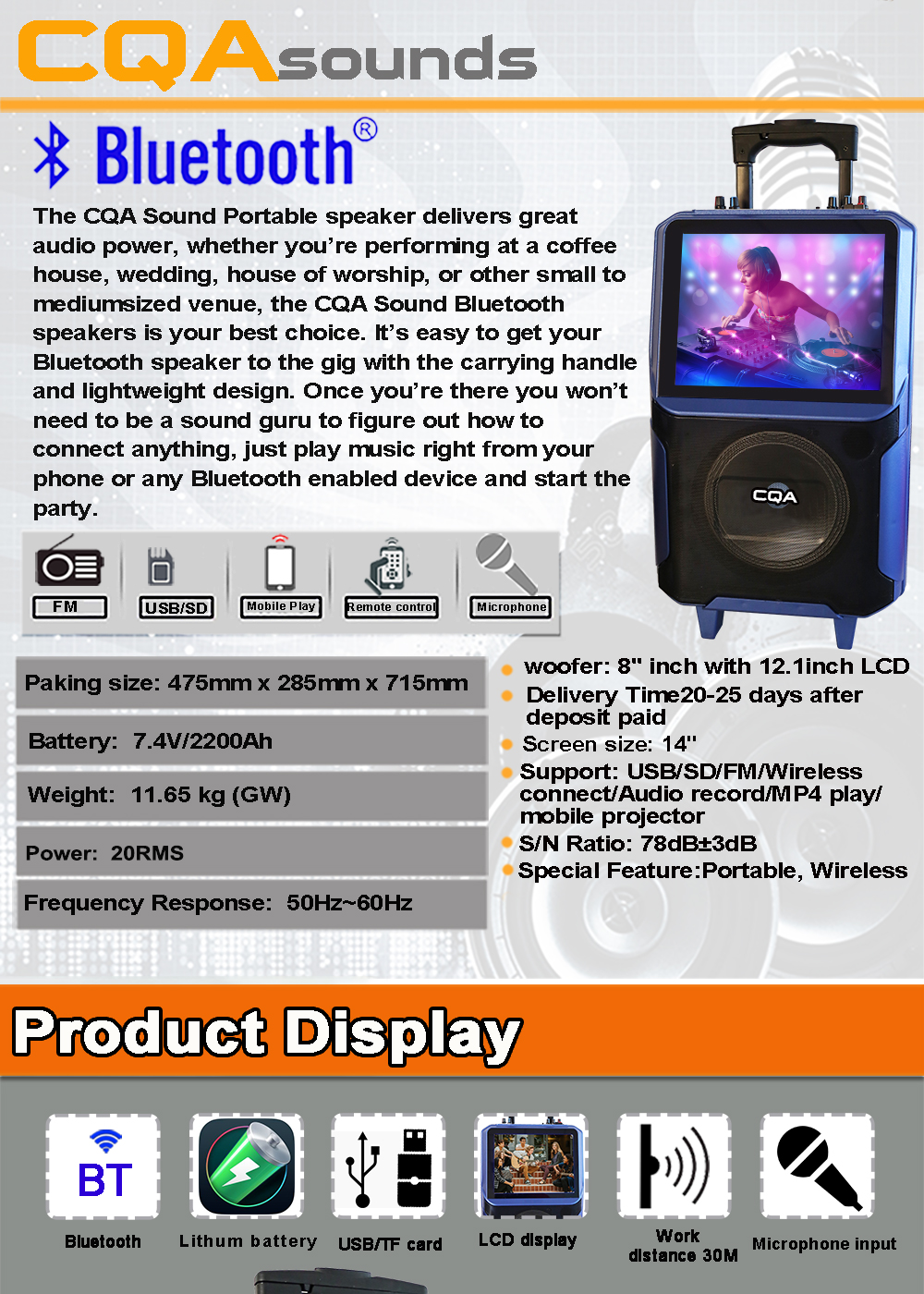 CQA 8 inch trolley multimedia karaoke rechargeable wifi H-DMI output touch function android video speakers