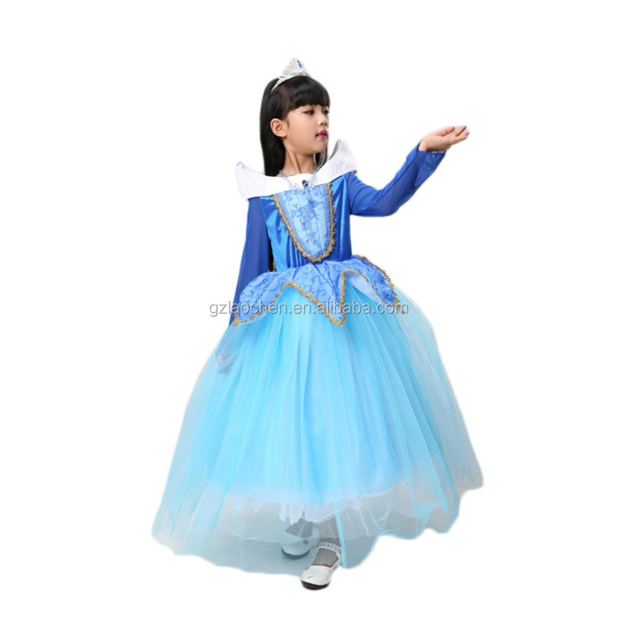 Kid cosplay princess Ariel halloween costumes blue dress for girl