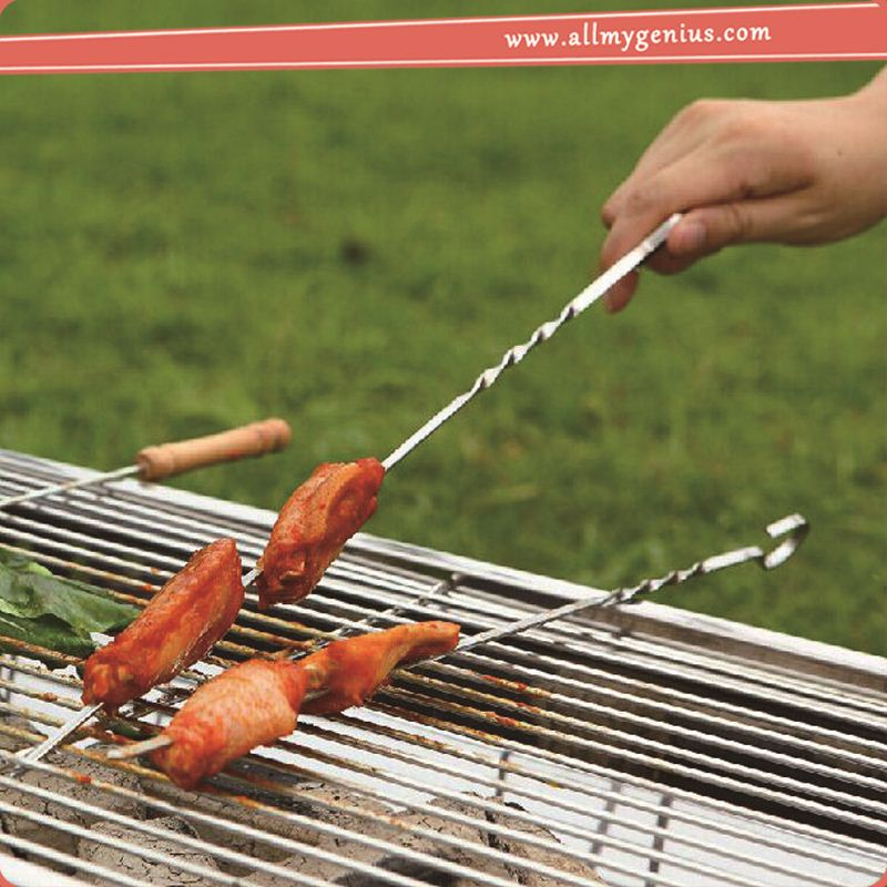 stainless steel bbq double skewer ,kyDHf 10pcs bbq tools set skewers