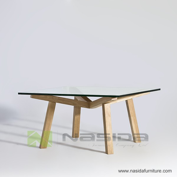 TL079 A ASH Solid wood base glass table top Dix Forte Square Coffee Table