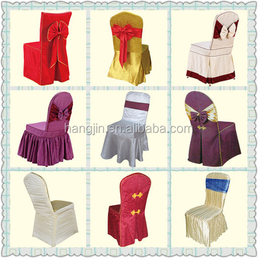 Polyester Jacquard Dining Room Chair Cover Yellow Color Banquet Hall Covers Customized