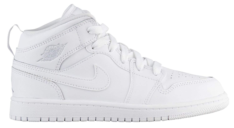 quality design ec281 5c9ee Get Quotations · Jordan Mid 1 White Pure Platinum-White (Little Kid)