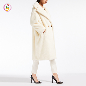 2018 Fake Faux Fur Thick Warm Cream Whiten Wool Blend Teddy Coat