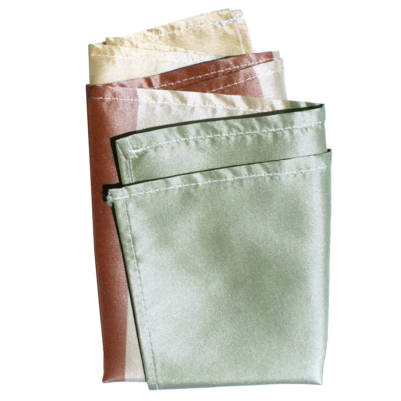 Broad Earth Stripes Taffeta Silk Pocket Square by ROYAL SILK. Full-size.
