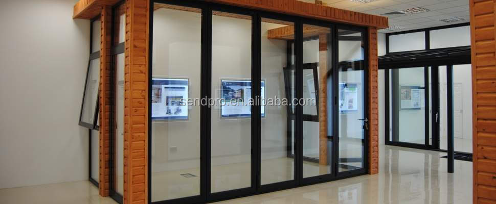 Interior aluminum profile folding office glass partition for Folding glass wall