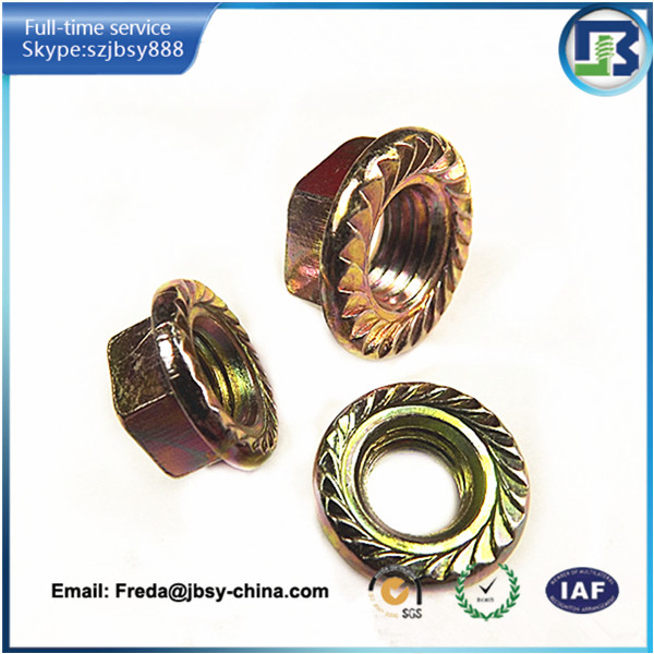 Hot selling m16 flange nuts brass knurled nut hex flange nut