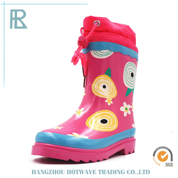 Hot Selling Elastic Pink Base Sunflower Rain Boots