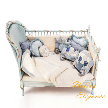 Antique Rococo Ornate Solid Wood Reproduction Baby Crib In Gold And Blue,  Classic Italian Nursery